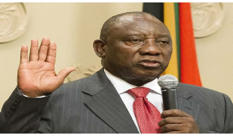Cyril Ramaphosa being sworn in president of South Africa