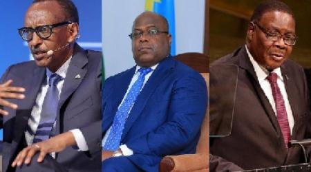 President of Rwanda Paul Kagame, President of DR Congo Felix Tshisekedi and the President of Malawi Peter Mutharika