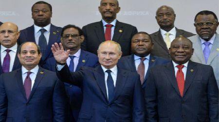 Putin and the African business delegation in Russia