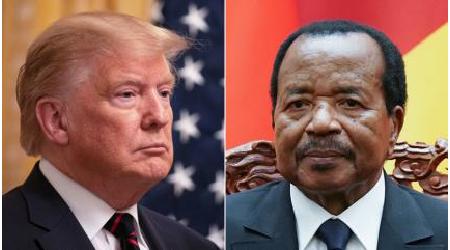 Cropped photo of Presidents Donald Trump and Paul Biya